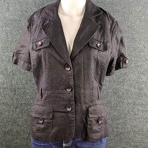 NWT Style & Co Black Linen Button Top Wood Buttons